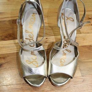 Sam Edelman Gold Peep Toe Strappy High Heels Sz 8